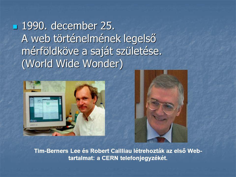 1990. december 25. A web történelmének legelső mérföldköve a saját születése. (World Wide Wonder)