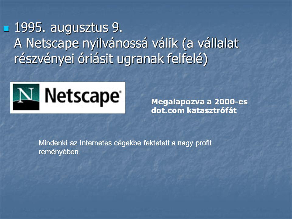 1995. augusztus 9. A Netscape nyilvánossá válik (a vállalat részvényei óriásit ugranak felfelé)
