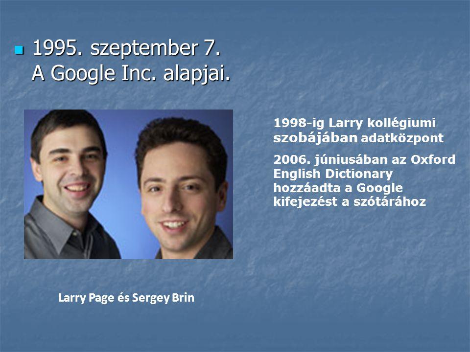 1995. szeptember 7. A Google Inc. alapjai.