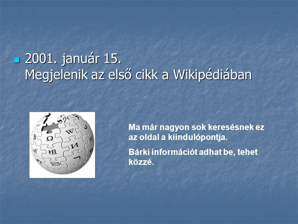 2001. január 15. Megjelenik az első cikk a Wikipédiában