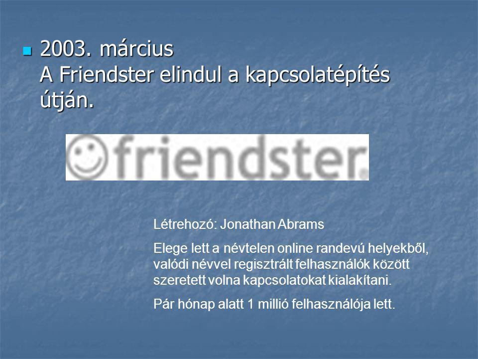 2003. március A Friendster elindul a kapcsolatépítés útján.