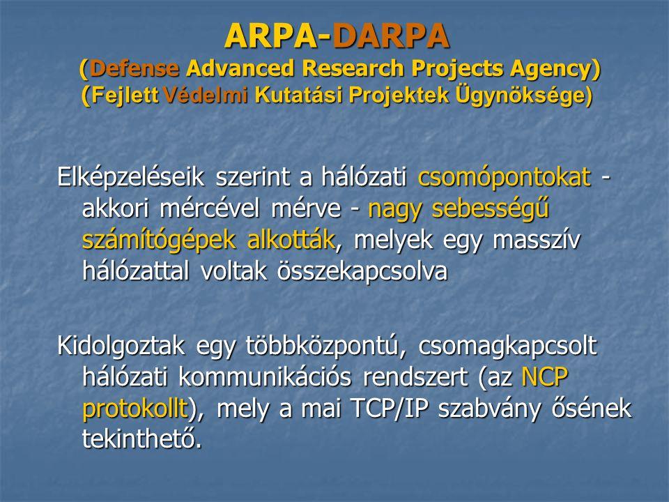 ARPA-DARPA (Defense Advanced Research Projects Agency) (Fejlett Védelmi Kutatási Projektek Ügynöksége)