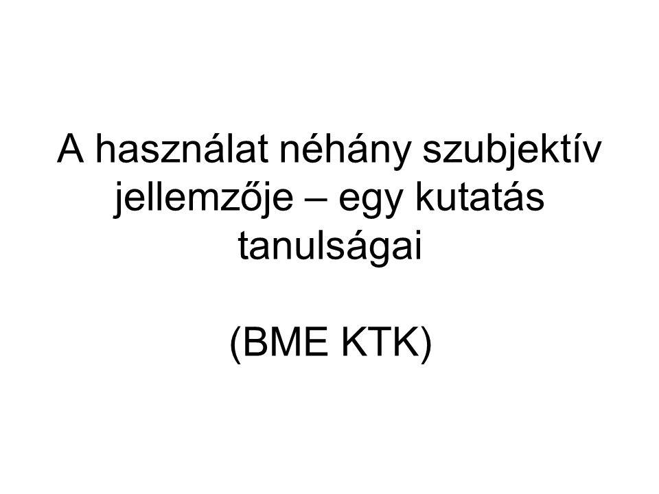 A használat néhány szubjektív jellemzője – egy kutatás tanulságai (BME KTK)