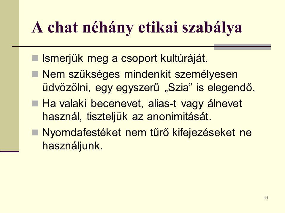 A chat néhány etikai szabálya