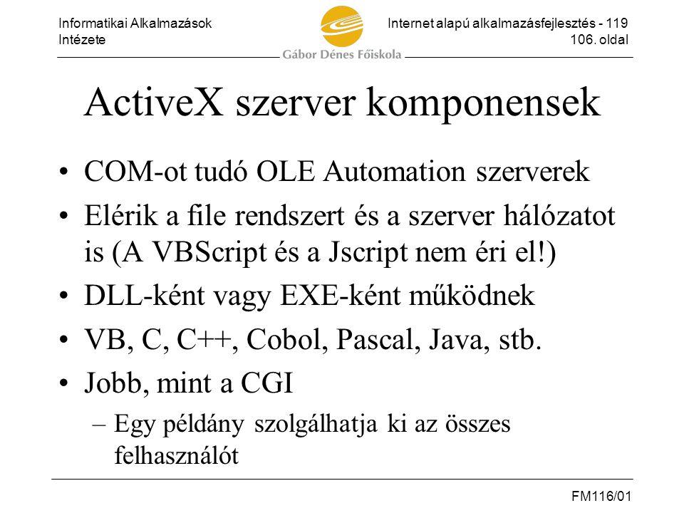 ActiveX szerver komponensek