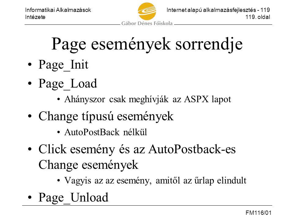 Page események sorrendje