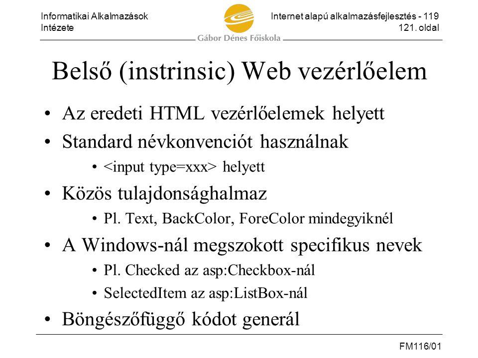 Belső (instrinsic) Web vezérlőelem