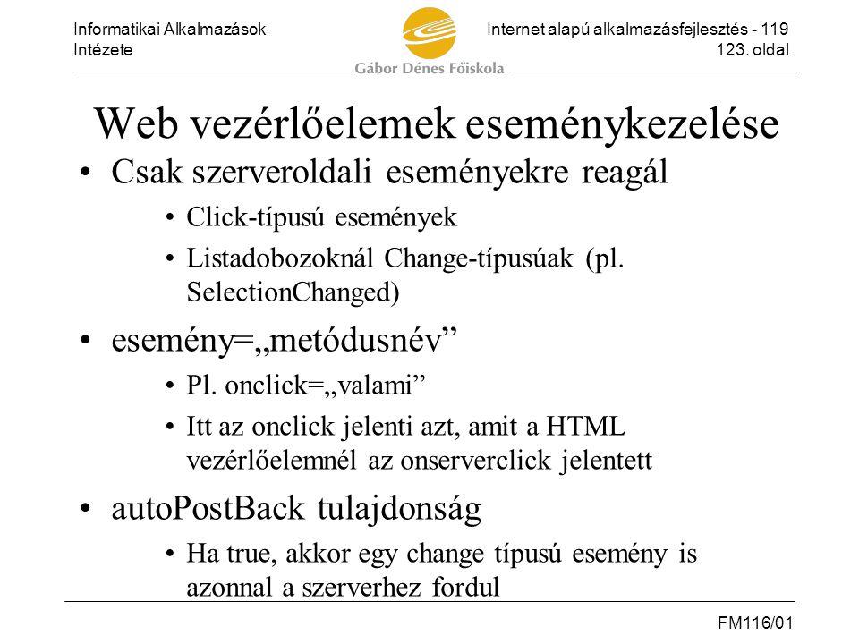 Web vezérlőelemek eseménykezelése