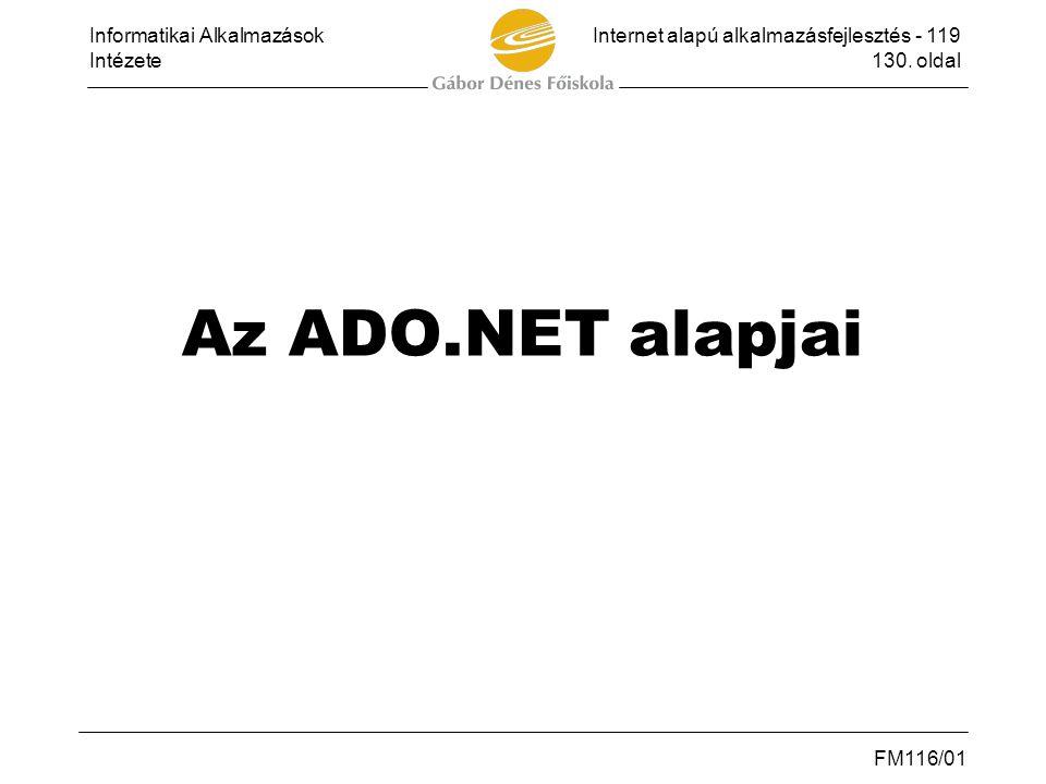 Az ADO.NET alapjai