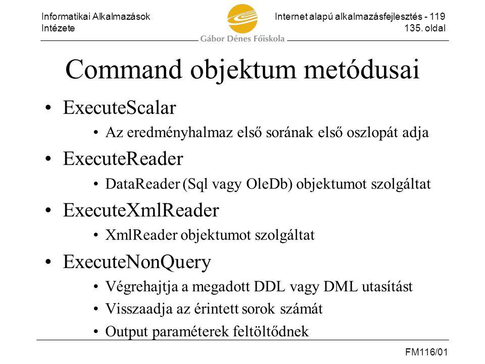 Command objektum metódusai