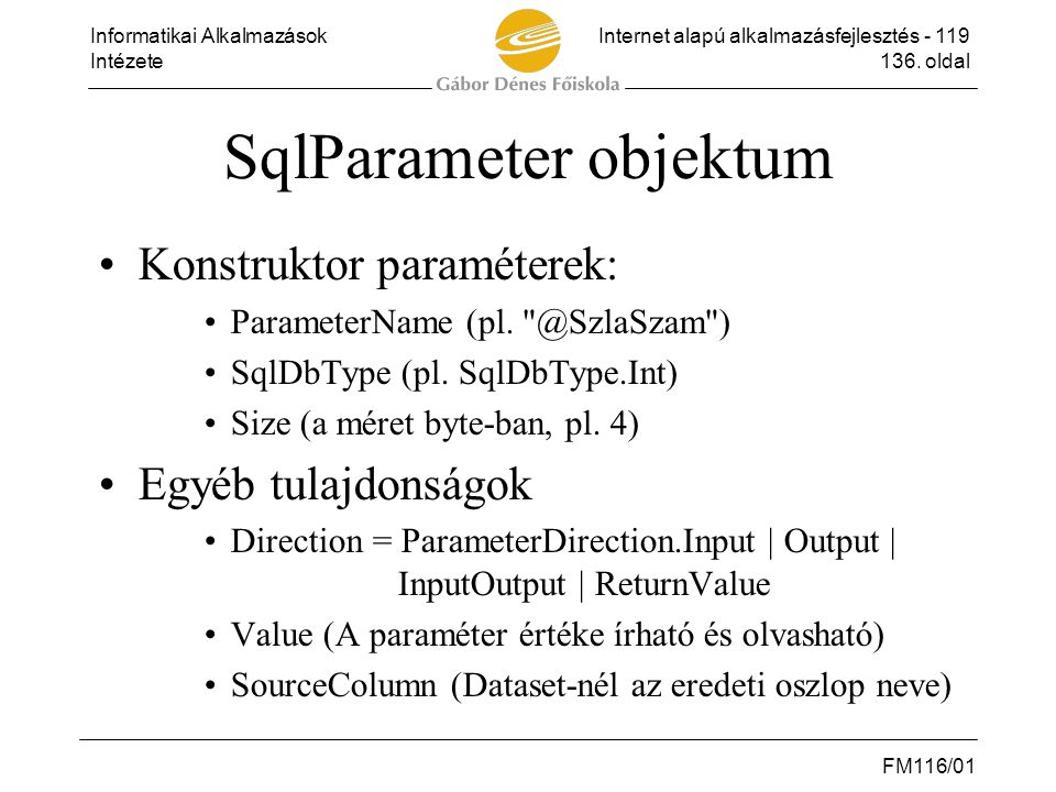 SqlParameter objektum