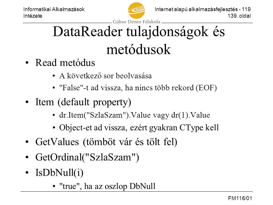 DataReader tulajdonságok és metódusok