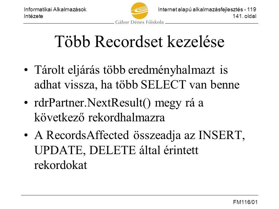 Több Recordset kezelése