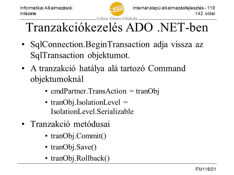 Tranzakciókezelés ADO .NET-ben