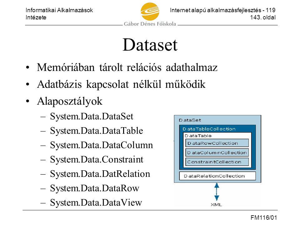 Dataset Memóriában tárolt relációs adathalmaz