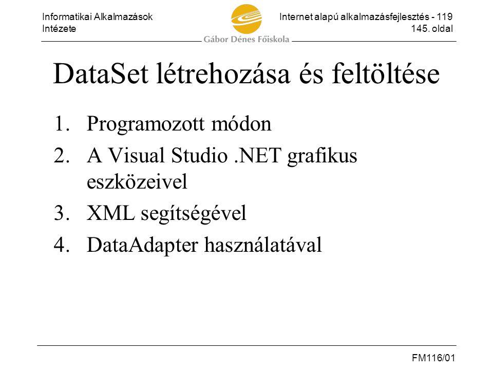 DataSet létrehozása és feltöltése