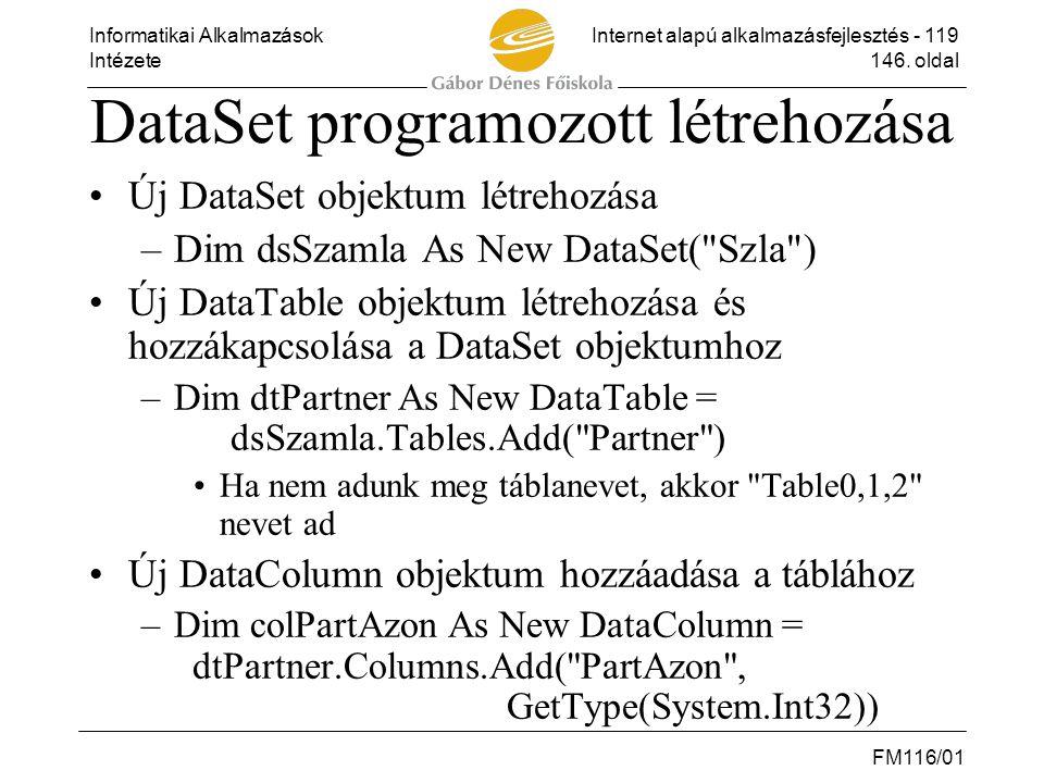 DataSet programozott létrehozása