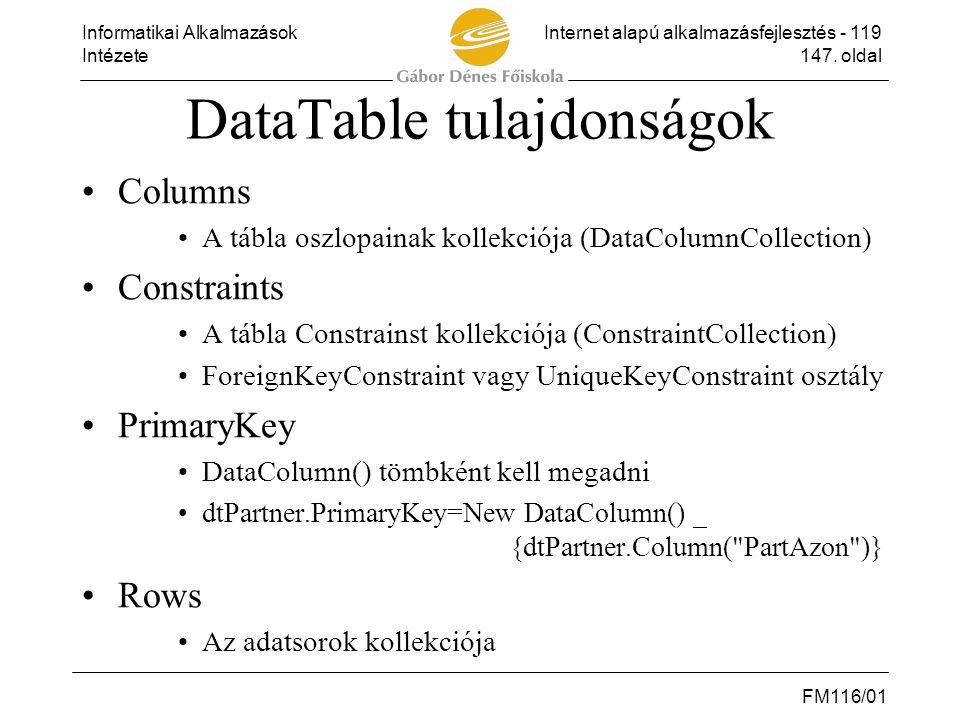 DataTable tulajdonságok