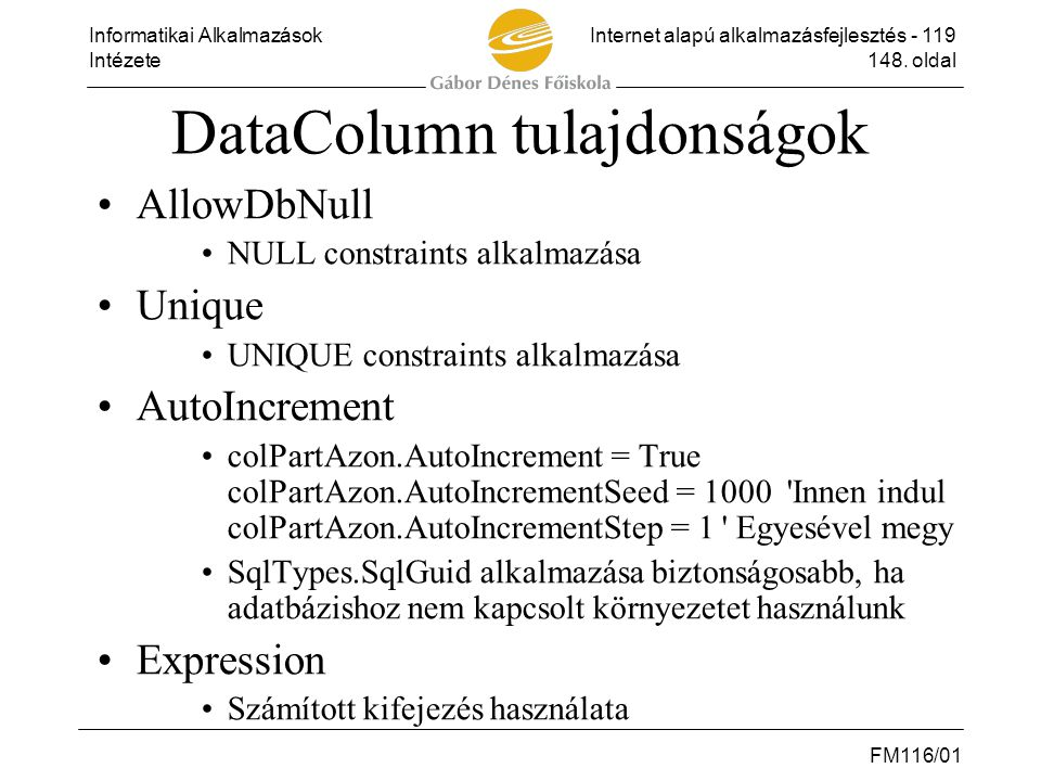 DataColumn tulajdonságok