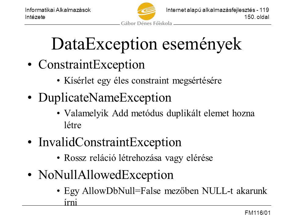 DataException események