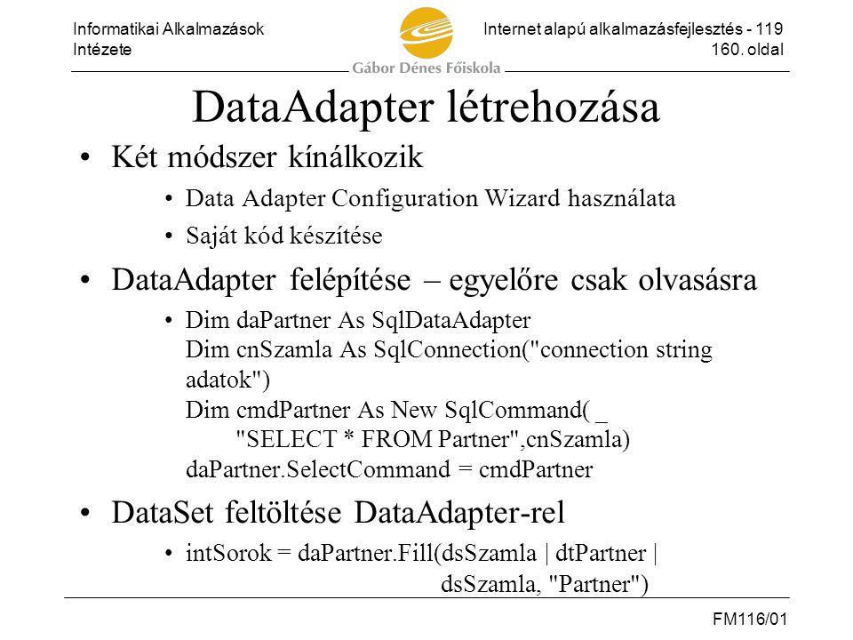DataAdapter létrehozása