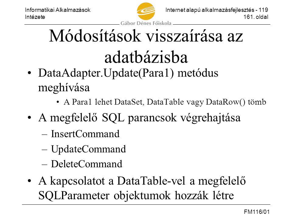 Módosítások visszaírása az adatbázisba