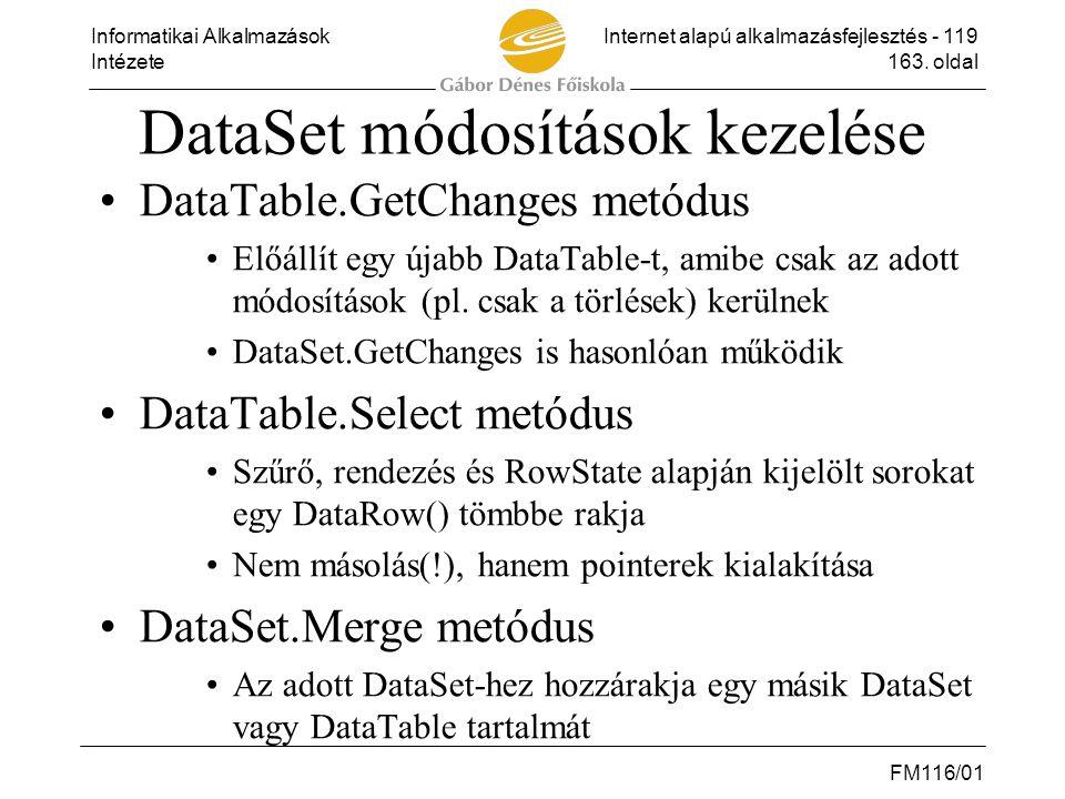 DataSet módosítások kezelése