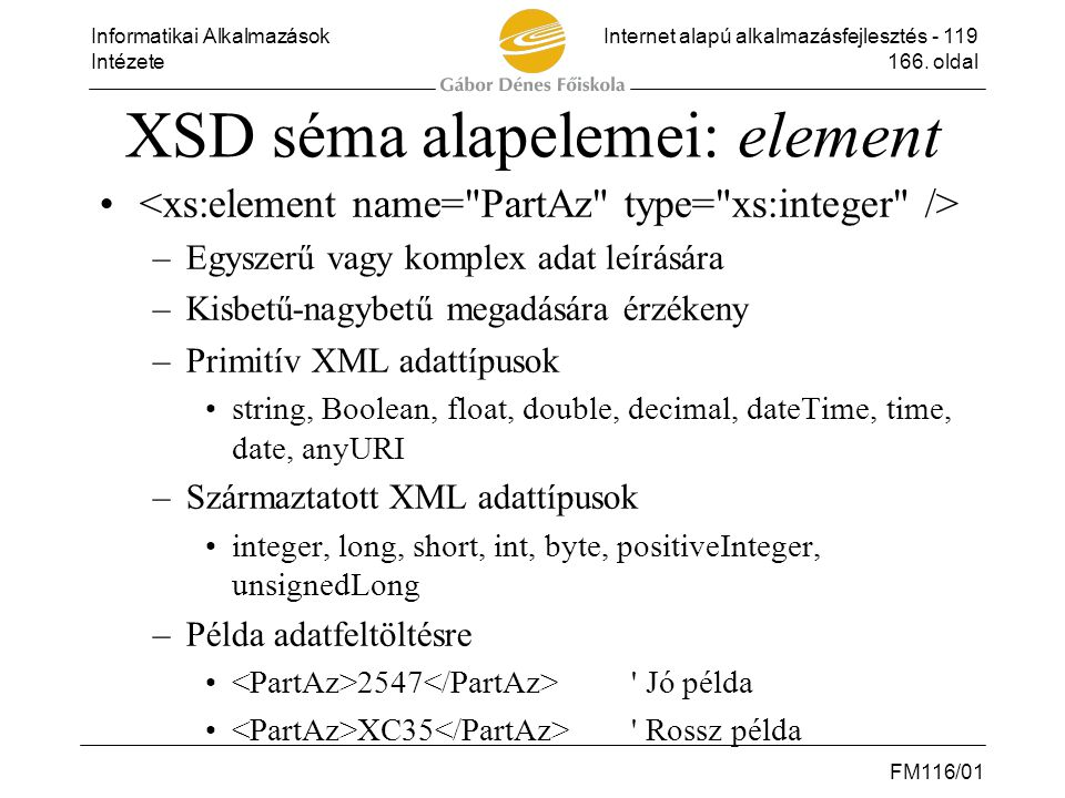 XSD séma alapelemei: element
