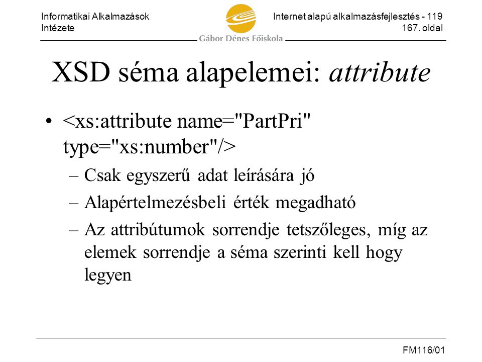 XSD séma alapelemei: attribute