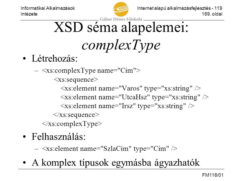 XSD séma alapelemei: complexType