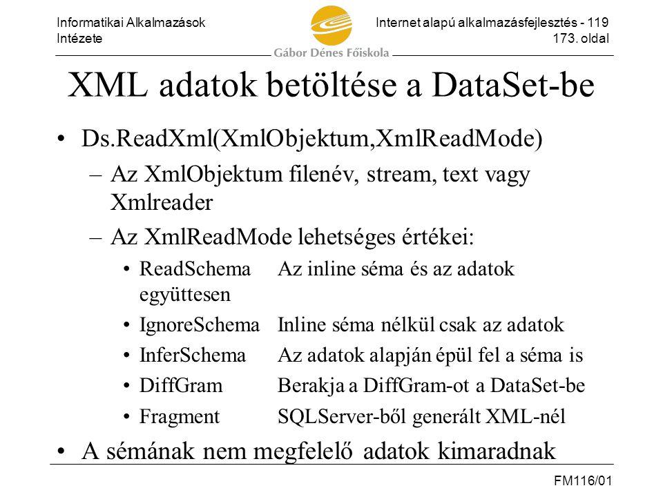 XML adatok betöltése a DataSet-be