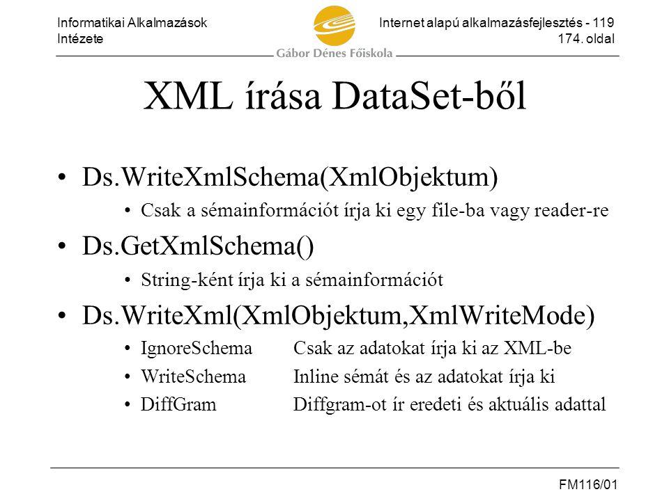 XML írása DataSet-ből Ds.WriteXmlSchema(XmlObjektum) Ds.GetXmlSchema()