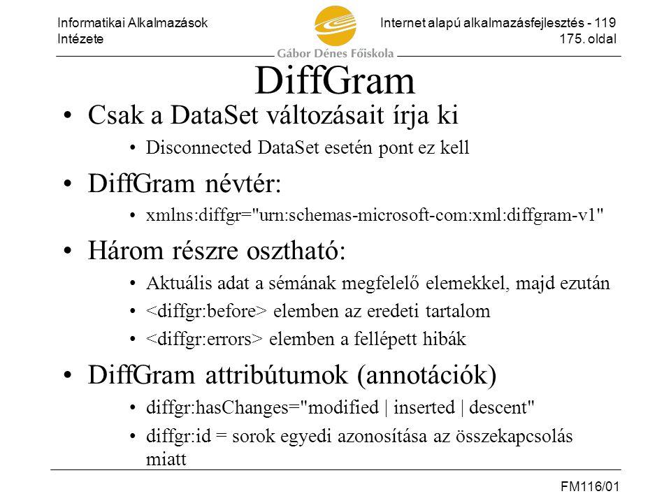 DiffGram Csak a DataSet változásait írja ki DiffGram névtér: