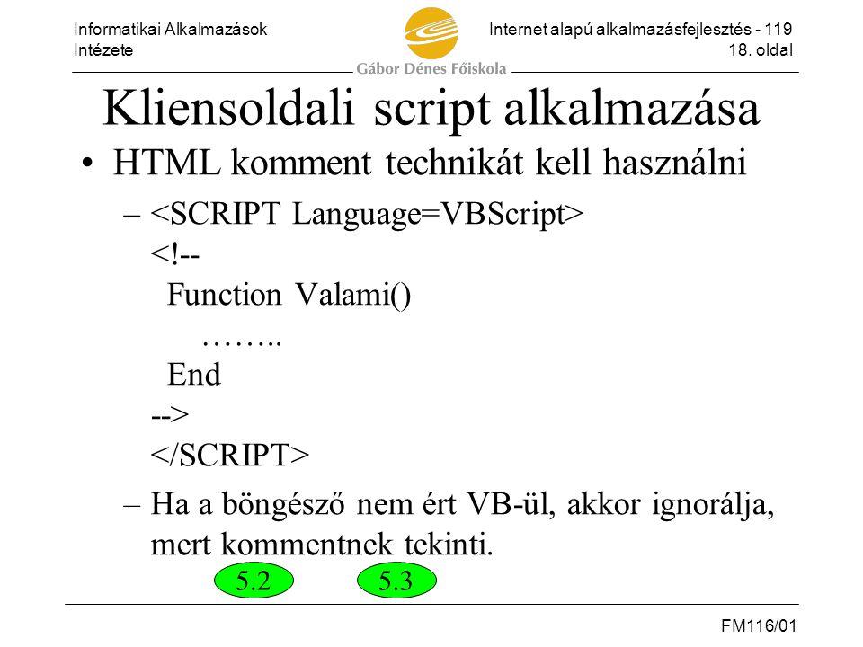 Kliensoldali script alkalmazása