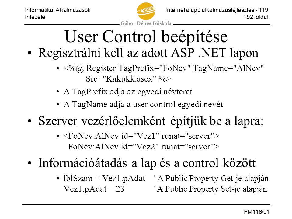 User Control beépítése