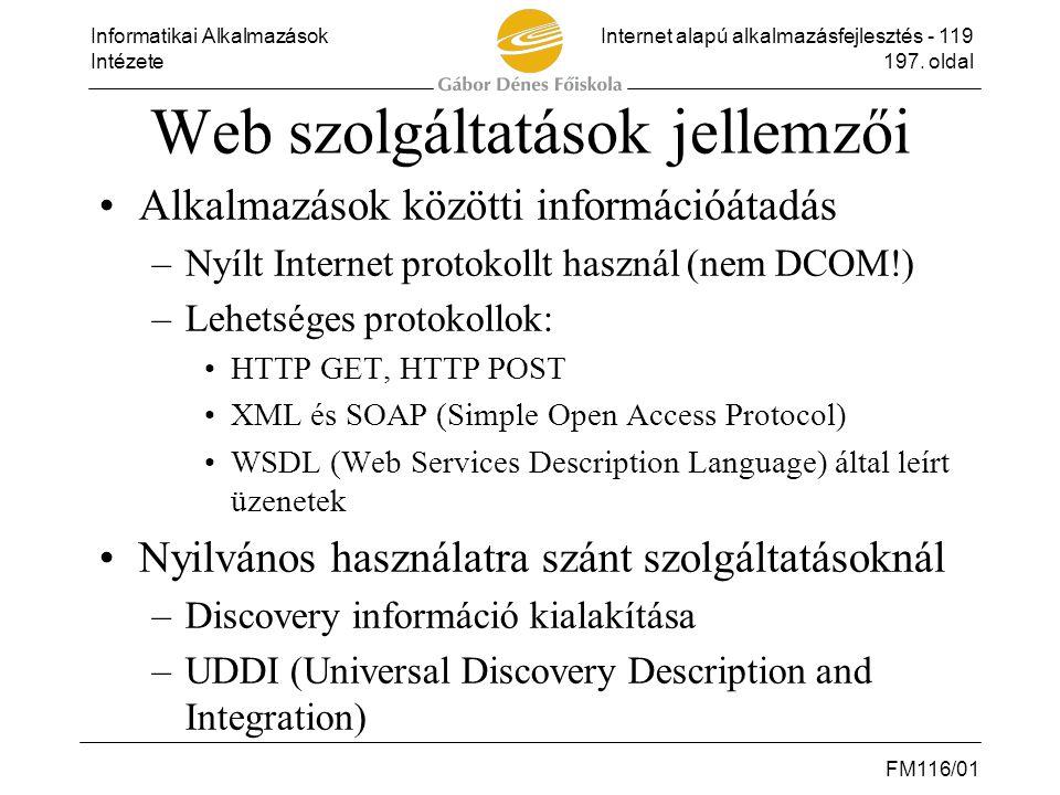 Web szolgáltatások jellemzői