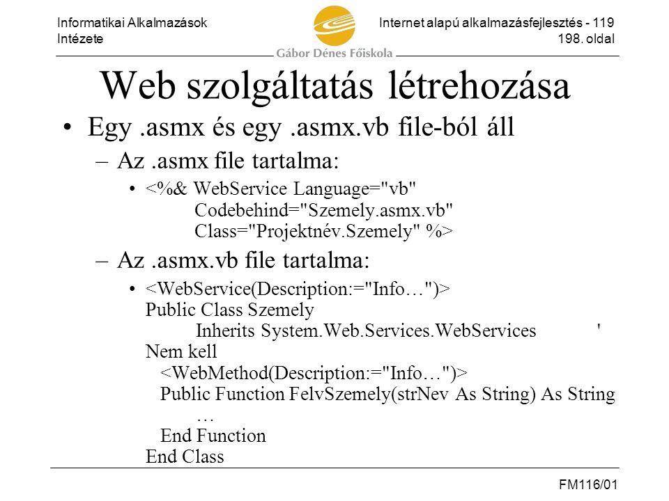 Web szolgáltatás létrehozása