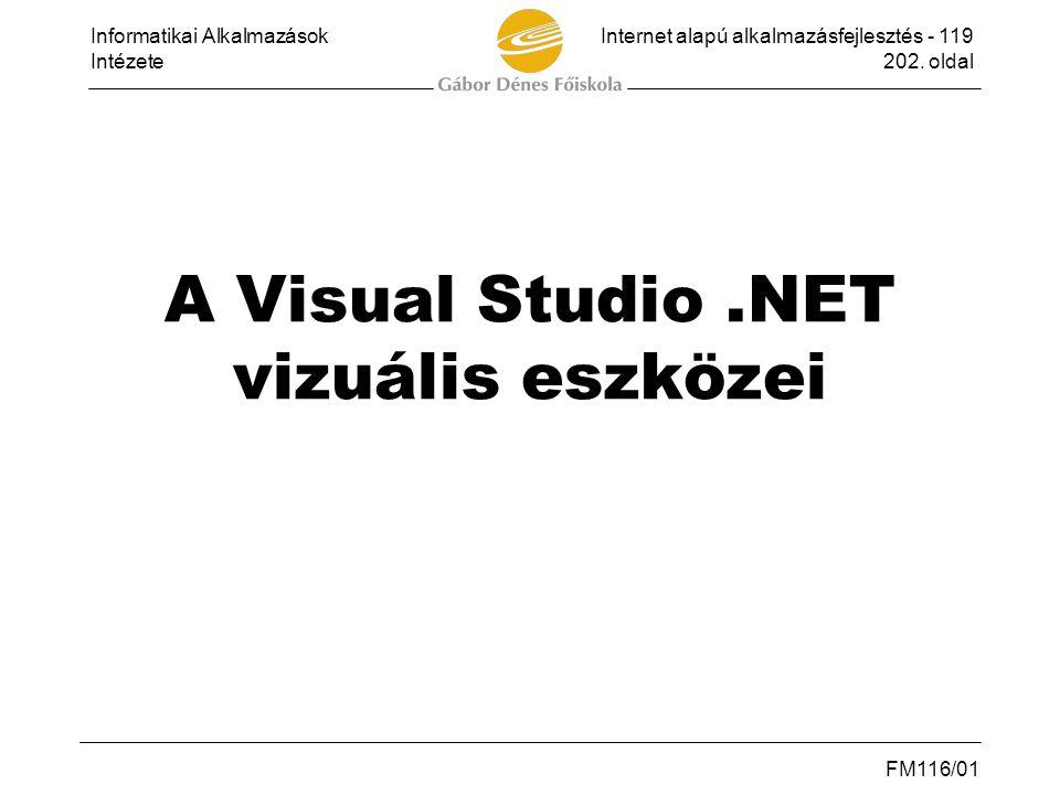 A Visual Studio .NET vizuális eszközei
