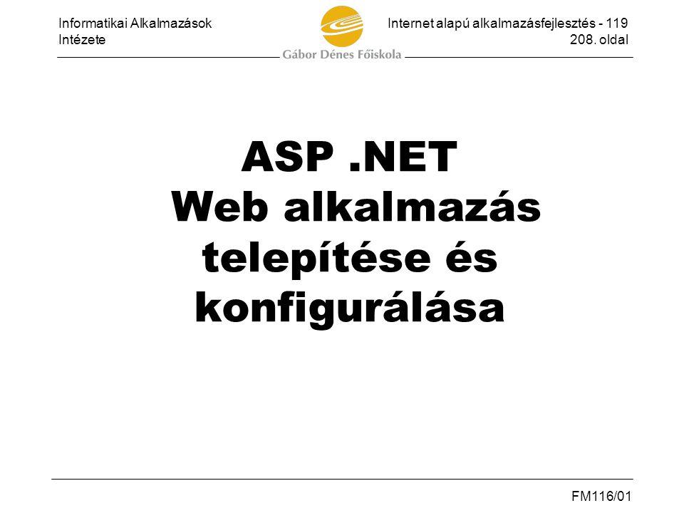 ASP .NET Web alkalmazás telepítése és konfigurálása