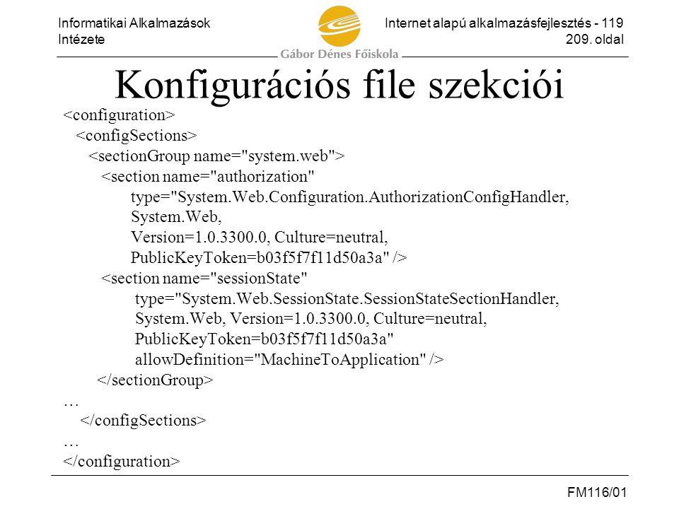 Konfigurációs file szekciói