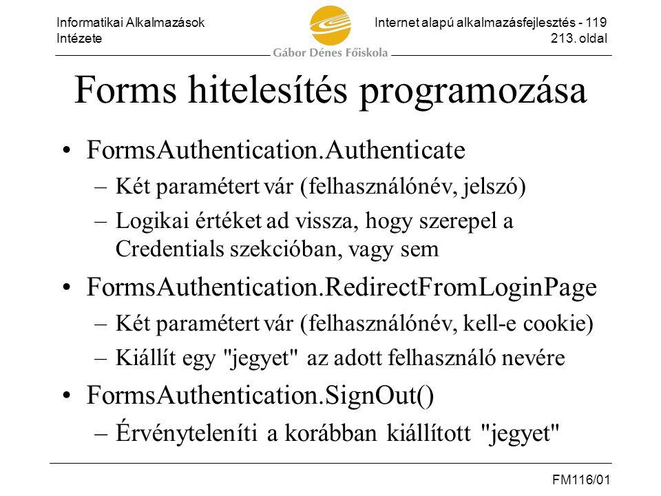 Forms hitelesítés programozása
