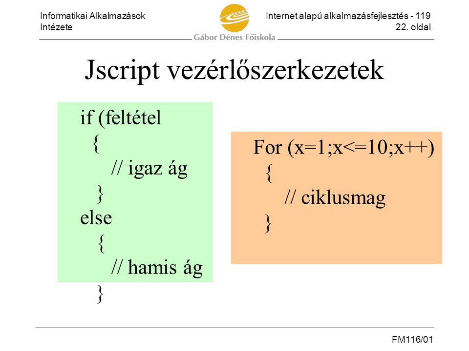 Jscript vezérlőszerkezetek