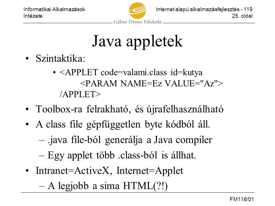 Java appletek Szintaktika: