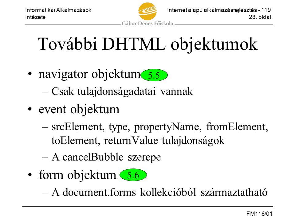További DHTML objektumok