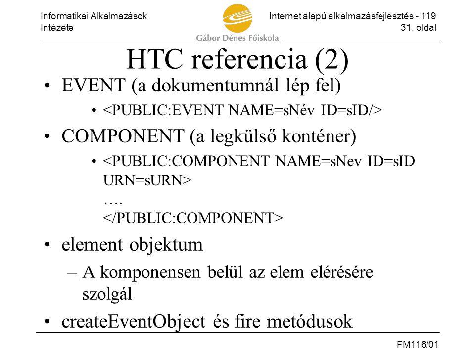 HTC referencia (2) EVENT (a dokumentumnál lép fel)