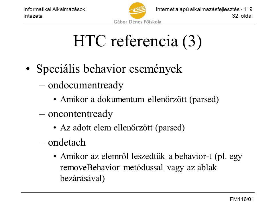 HTC referencia (3) Speciális behavior események ondocumentready