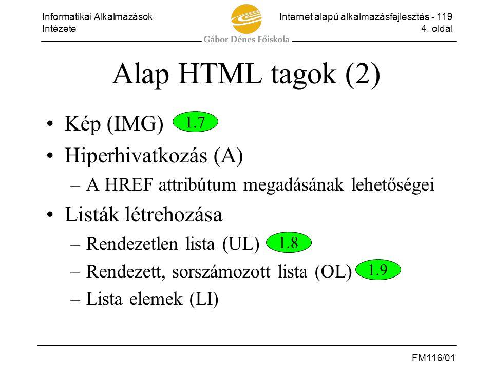 Alap HTML tagok (2) Kép (IMG) Hiperhivatkozás (A) Listák létrehozása