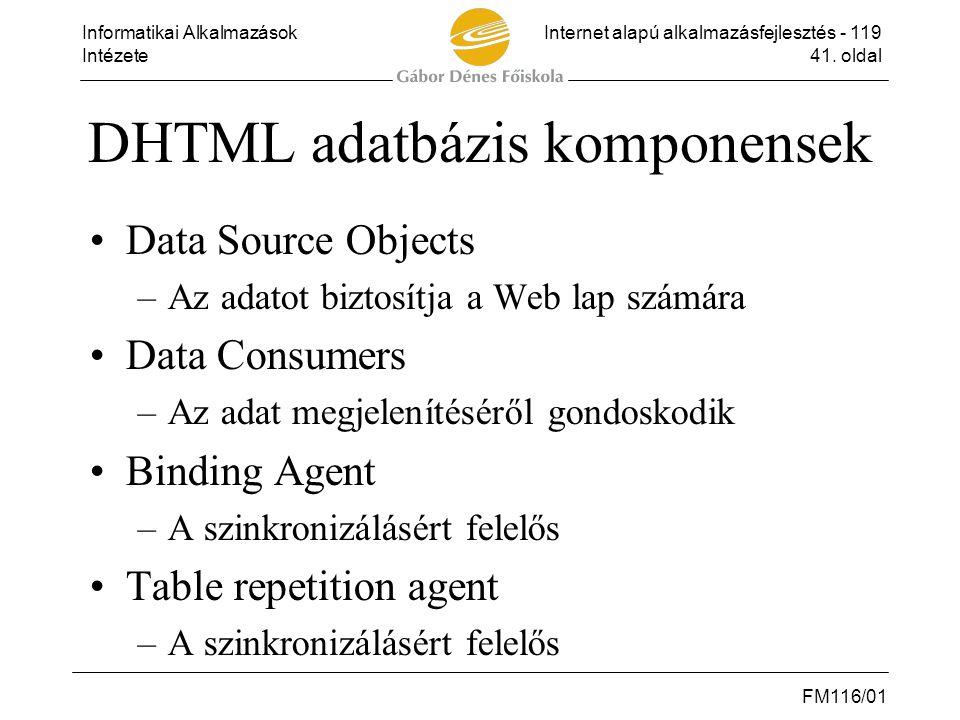 DHTML adatbázis komponensek