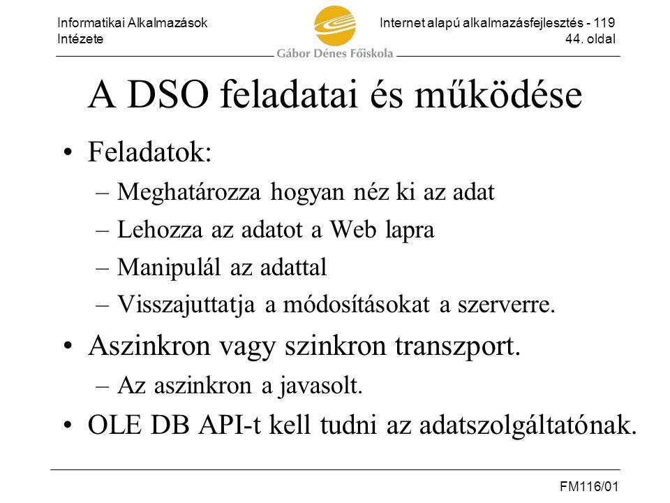 A DSO feladatai és működése