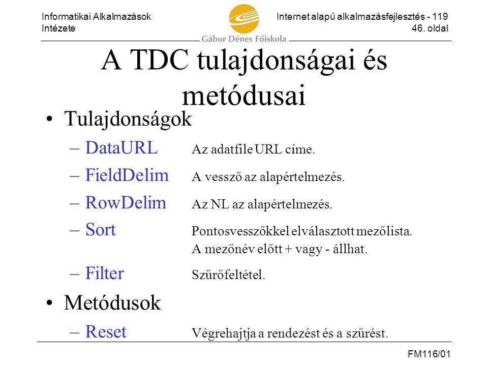 A TDC tulajdonságai és metódusai